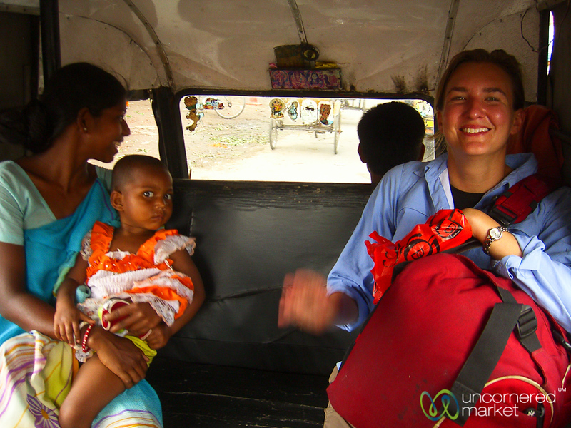 Audrey in the Back of a Rickshaw - Siliguri, India