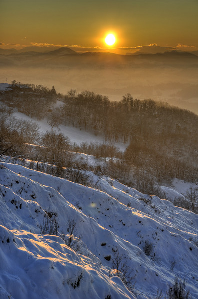 Badlands at Sunset - Via Monte Evangelo, Castellarano, Reggio Emilia, Italy - December 20, 2009