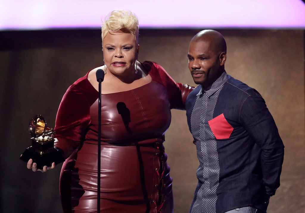 ". Tamela Mann, left, and Kirk Franklin accept the award for best gospel performance/song for ""God Provides\"" at the 59th annual Grammy Awards on Sunday, Feb. 12, 2017, in Los Angeles. (Photo by Matt Sayles/Invision/AP)"
