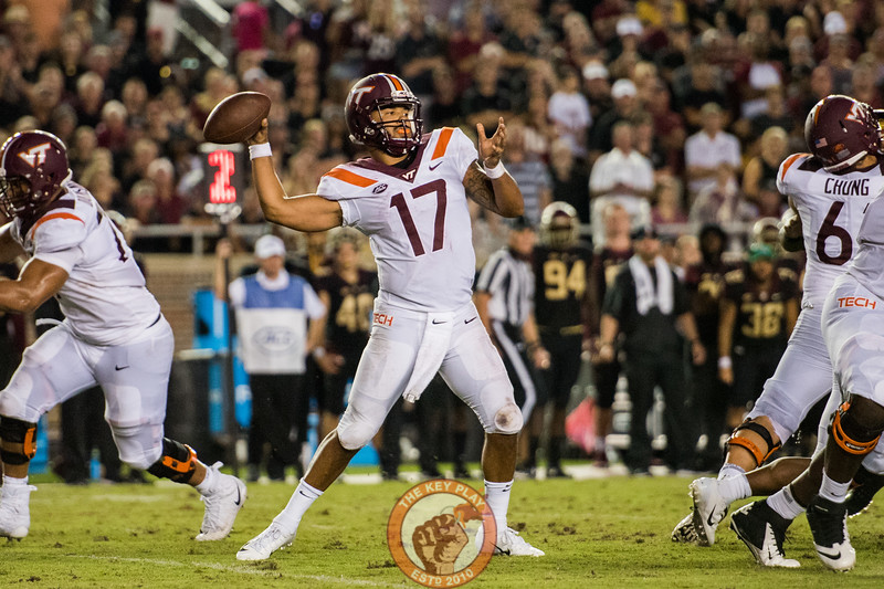 Josh Jackson throws in the matchup between Virginia Tech and Florida State at Doak Campbell Stadium, Monday, Sept. 3, 2018. (Photo by Cory Hancock)