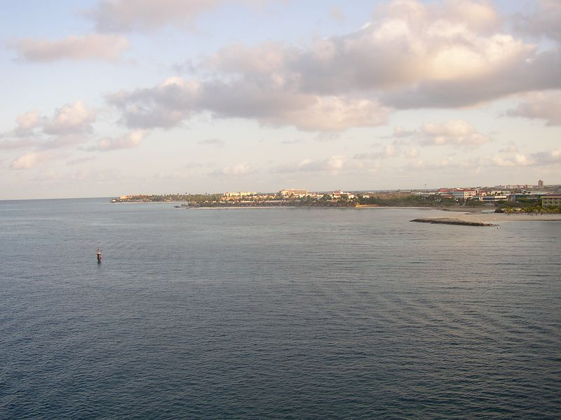Ariving at the Island of Aruba from our balcony