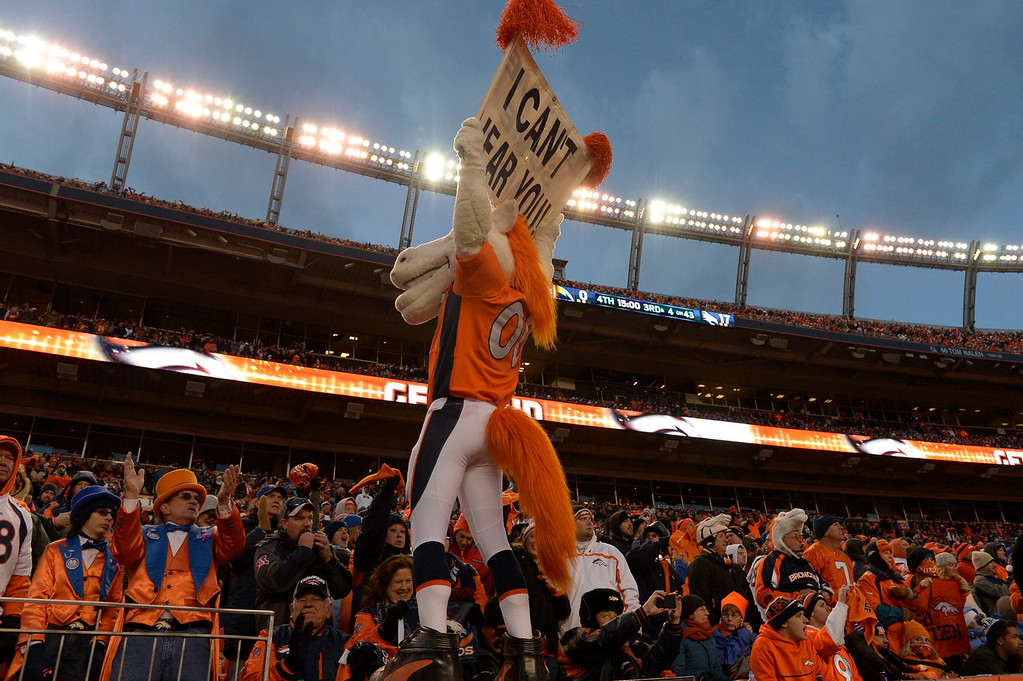 . Miles, the Broncos\' mascot gets the crowd pumped up in the fourth quarter. The Denver Broncos take on the San Diego Chargers at Sports Authority Field at Mile High in Denver on January 12, 2014. (Photo by Craig F. Walker/The Denver Post)