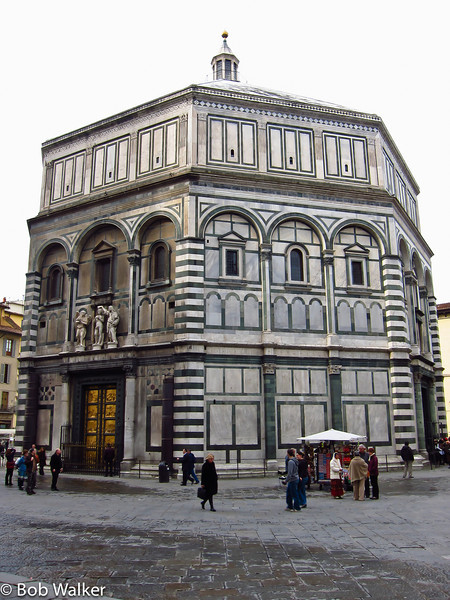 Florence Baptistry or Battistero di San Giovanni (Baptistry of St. John). http://en.wikipedia.org/wiki/Florence_Baptistery. Right across from the Duomo.