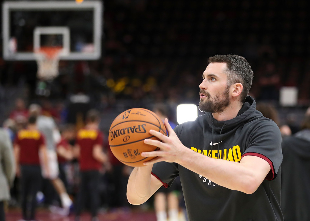 . Cleveland Cavaliers center Kevin Love shoots before Game 3 of basketball\'s NBA Finals between the Cavaliers and the Golden State Warriors, Wednesday, June 6, 2018, in Cleveland. (AP Photo/Carlos Osorio)