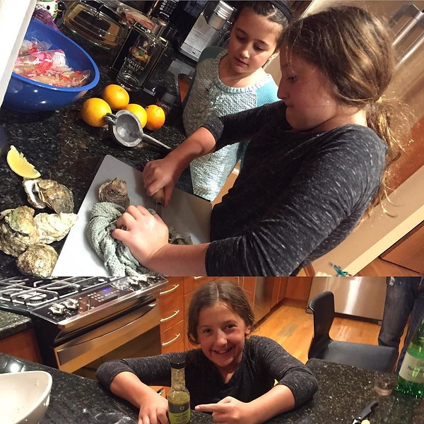 Only thing better than oysters at @gtfishoyster on NYE is @kaylakat25 shucking them for us and friends with Amy & Joel at their home!