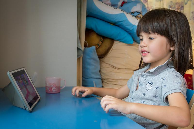 Aum enjoying her iPad time