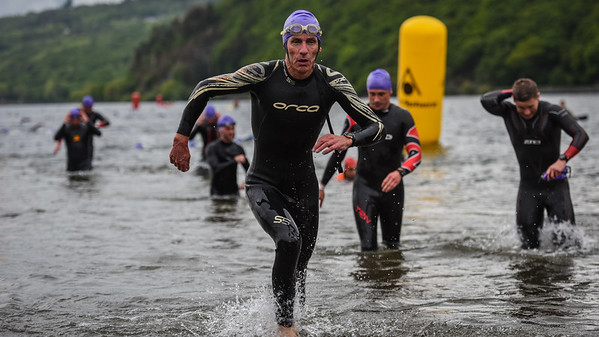 Sportpursuit Slateman Triathlon - Swim Exit Purple Hats