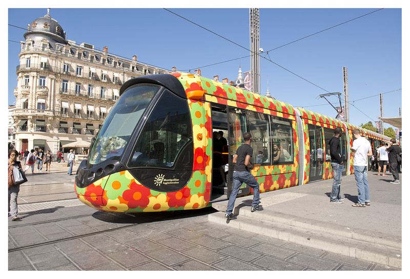 The tram system in Montpellier made getting around easy (and colorful).