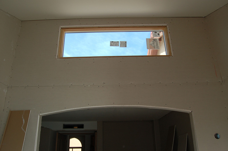Looking at the new high window, with master bedroom below.