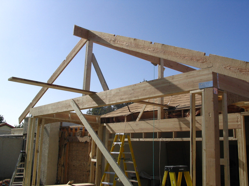 The roofline of the back patio is beginning to take shape.