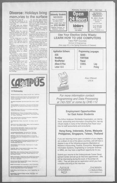 Daily Trojan, Vol. 110, No. 51, November 15, 1989