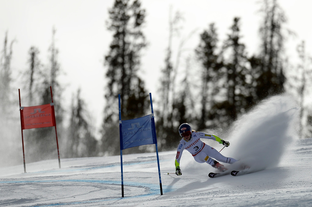 . BEAVER CREEK, CO - FEBRUARY 12: Mikaela Shiffrin of the USA competes during the ladies\' giant slalom. FIS Alpine World Ski Championships 2015 on Thursday, February 12, 2015. (Photo by AAron Ontiveroz/The Denver Post)