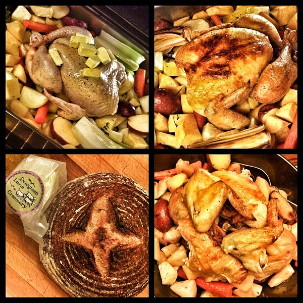 On the table tonite: roasted whole chicken with root vegetables; country white with Fennville, MI cheese #foodgram #jux