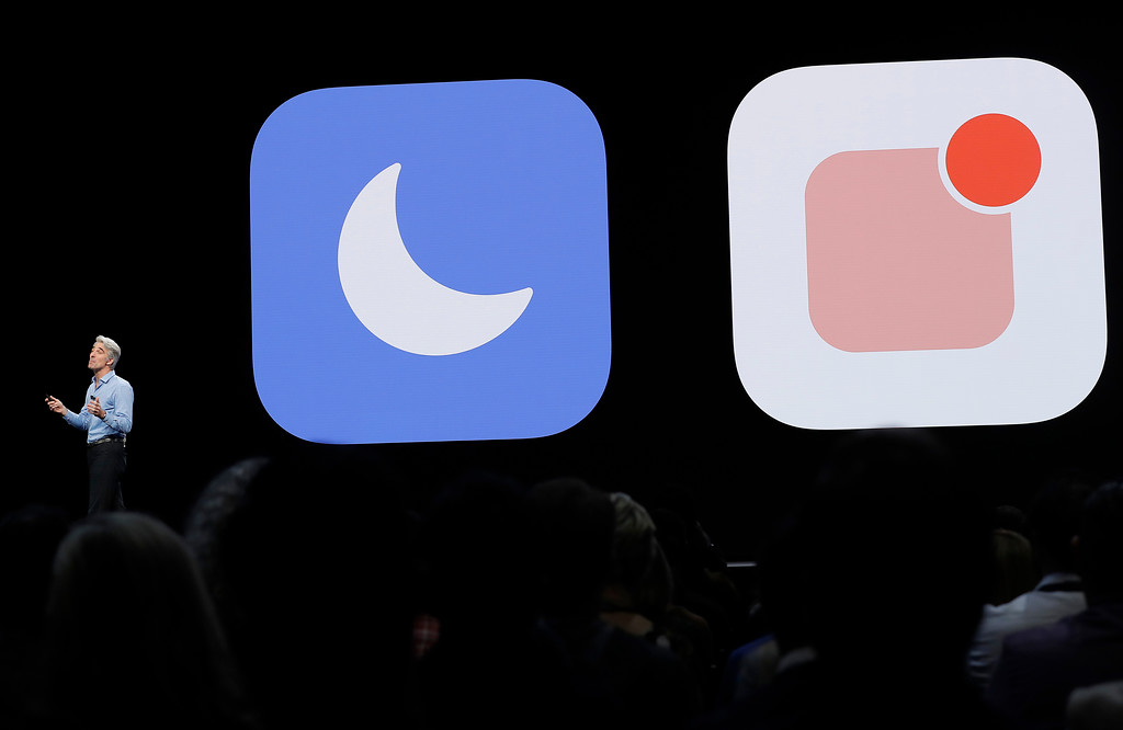 . Craig Federighi, Apple\'s senior vice president of Software Engineering, speaks during an announcement of new products at the Apple Worldwide Developers Conference Monday, June 4, 2018, in San Jose, Calif. (AP Photo/Marcio Jose Sanchez)