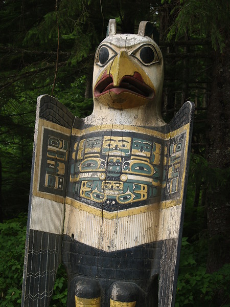 Totem Bight State Park is north of Ketchikan. It is visited by the cruise ship crowd so go early. There were totems under protective covering that are being cared for. Here is a good example of an eagle. (2009)
