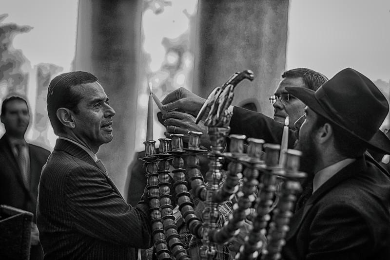Mayor Garcetti lighting Menorah LA City Hall (he is jewish) with Rabbi Chaim Cunin.jpg