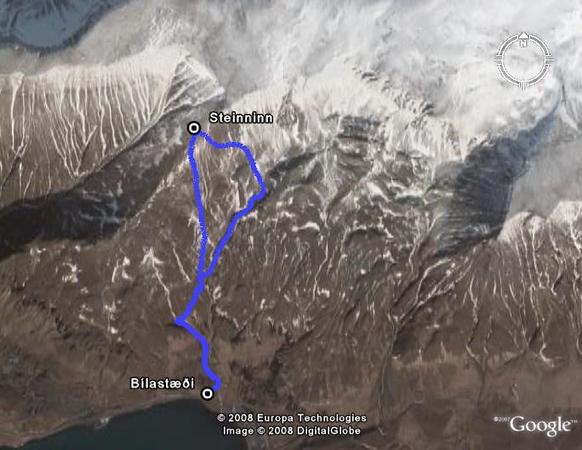 Leiðin séð í með augum Google Earth