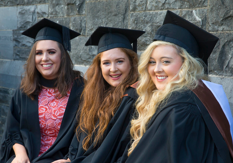 01/11/2017. FREE TO USE IMAGE. WIT (Waterford Institute of Technology) Conferring, Waterford City are Branagh Ganley, Cork, Leanne Larkin, Offaly, Eimear Carroll, Limerick who Graduated BA (Hons) in Psychology. Picture: Patrick Browne