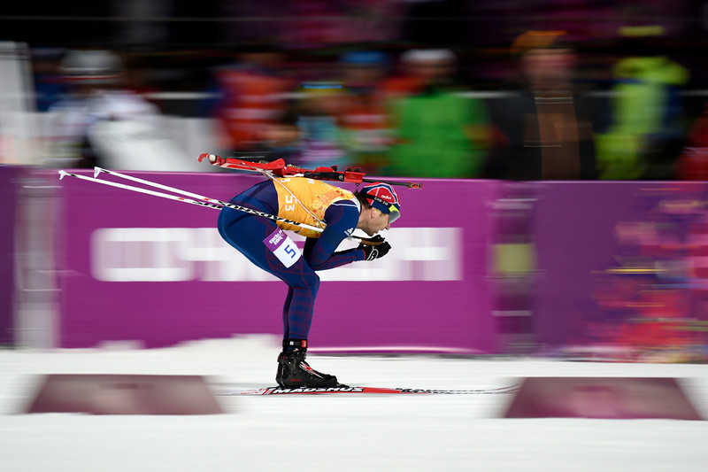 . Norway\'s Ole Einar Bjoerndalen competes in the Men\'s Biathlon 4x7.5 km Relay at the Laura Cross-Country Ski and Biathlon Center during the Sochi Winter Olympics on February 22, 2014, in Rosa Khutor, near Sochi.  (ODD ANDERSEN/AFP/Getty Images)