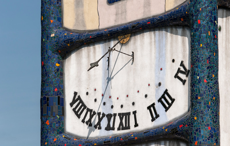Clock of Church of St. Barbara designed by Hundertwasser, Barnbach (Baernbach), Styria, Austria