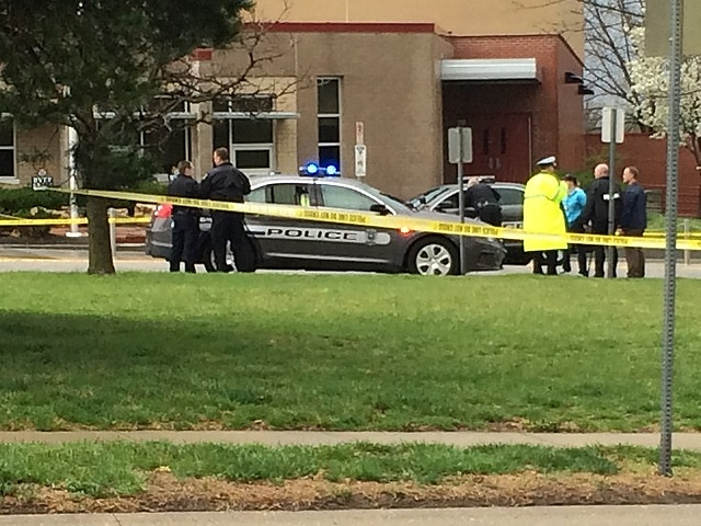 . In this photo provided by KSHB41 Action News, authorities respond the Jewish community center after a shooting in Overland Park, Kan., Sunday, April 13, 2014. (AP Photo/KSHB41 Action News)