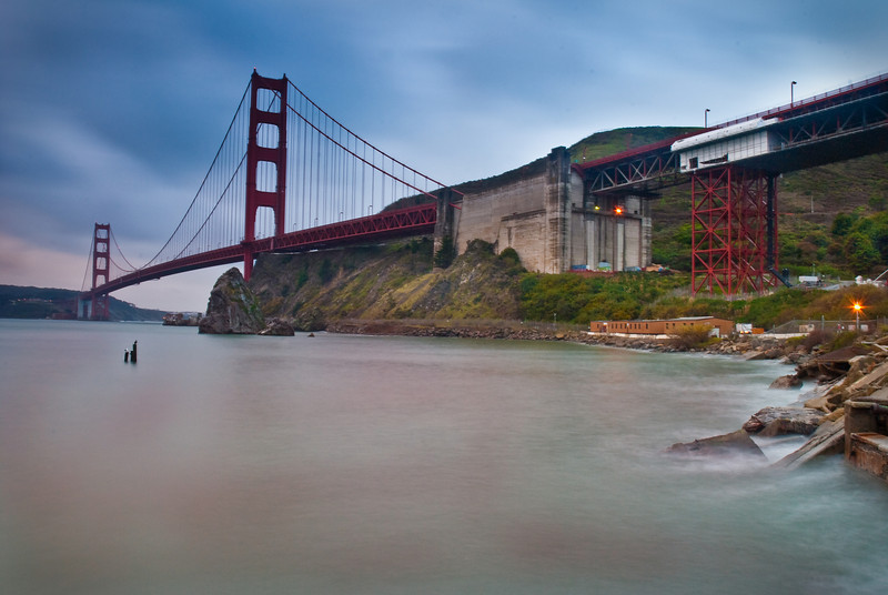 Another shot of the SF Golden Gate Bridge, taken from the pier below Vista Point (Horseshoe Bay?). The sun was up by now.