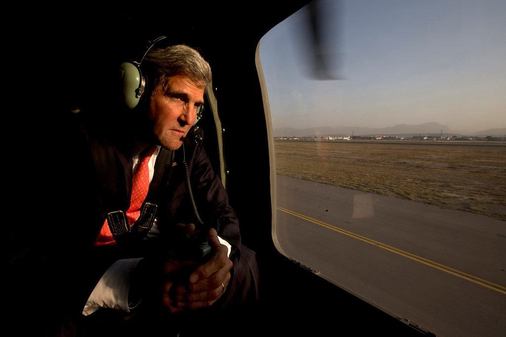 . U.S. Secretary of State John Kerry takes off in a black hawk helicopter in Kabul, Afghanistan, after arriving on an unannounced visit to meet with Afghan President Hamid Karzai Friday, Oct. 11, 2013. (AP Photo/Jacquelyn Martin, Pool)