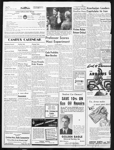 Daily Trojan, Vol. 38, No. 62, December 12, 1946