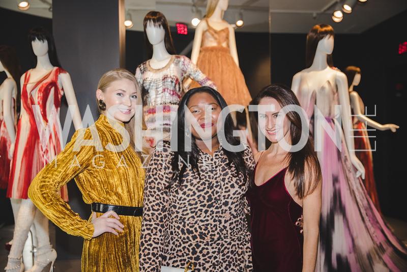 Jaclyn McKethan, Janae Brandon, Candice Lipton.  Photo by Bruce Allen. 2018 Rodarte Exhibition Reception