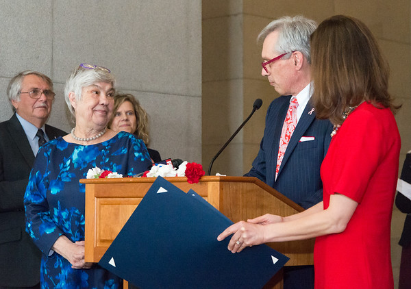 05/02/19 Wesley Bunnell | Staff Polish Day at the Capitol, in its 28th year, took place at the State Capitol Building on Thursday morning which also commemorates the 228th anniversary of the Polish constitution. Liz Wasiutynski, L, looks on as Rep. Peter Tercyak introduces her to the audience.