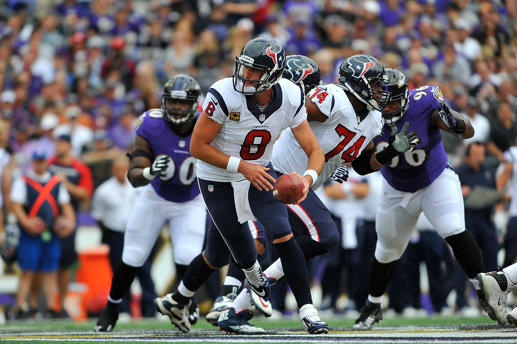. Quarterback Matt Schaub #8 of the Houston Texans hands off against the Baltimore Ravens at M&T Bank Stadium on September 22, 2013 in Baltimore, Maryland.  (Photo by Larry French/Getty Images)