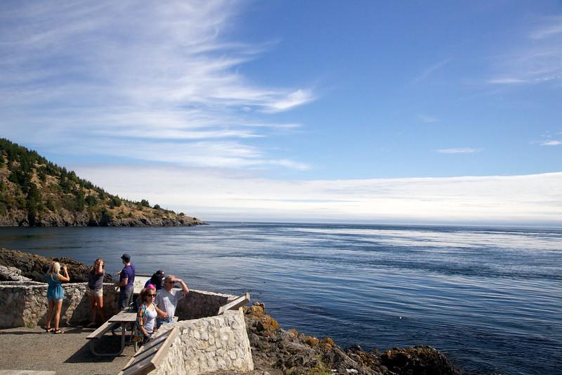 Tourists at overlook. Lime Kiln State Park, San Juan Island, Washington.