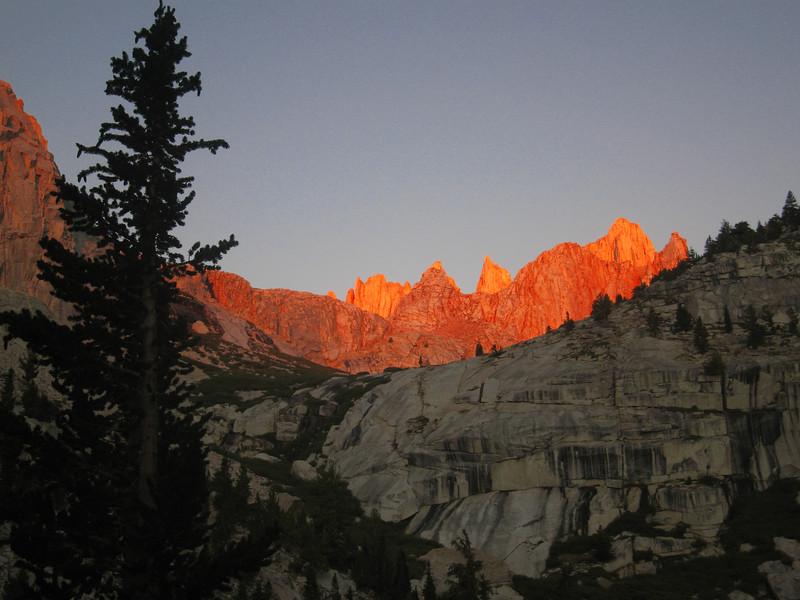 the mountains are orange