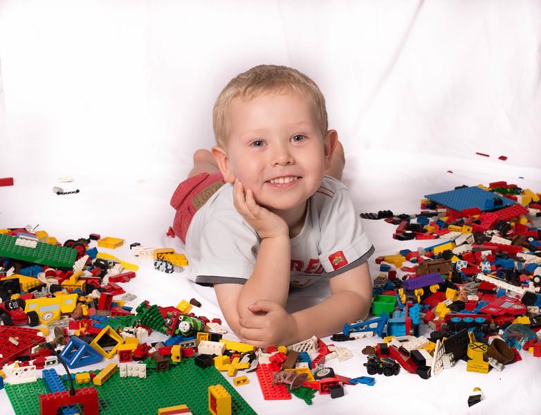 Landon with he's Lego