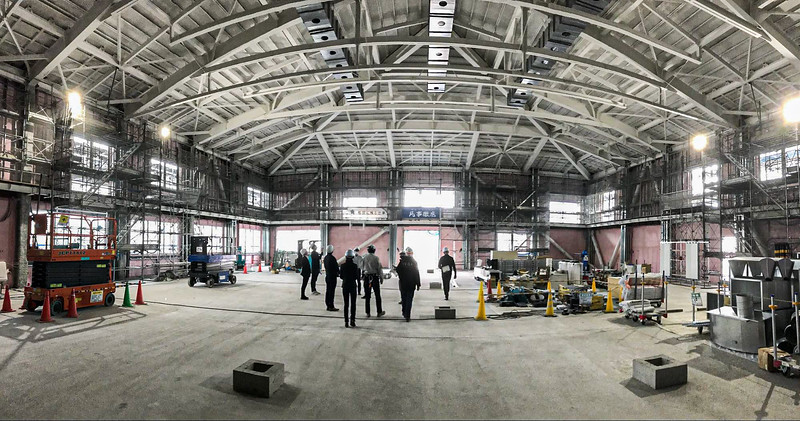 Interior construction of the gym.
