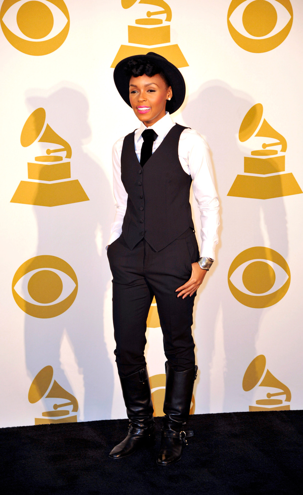 Description of . Janelle Monae poses for a photo backstage at the Grammy Nominations Concert Live! at Bridgestone Arena on Wednesday, Dec. 5, 2012, in Nashville, Tenn. (Photo by Donn Jones/Invision/AP)