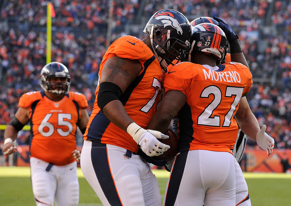 Description of . Denver Broncos running back Knowshon Moreno (27) is congratulated by Denver Broncos tackle Orlando Franklin (74) after scoring in the first quarter as the Denver Broncos took on the Kansas City Chiefs at Sports Authority Field at Mile High in Denver, Colorado on December 30, 2012. Tim Rasmussen, The Denver Post