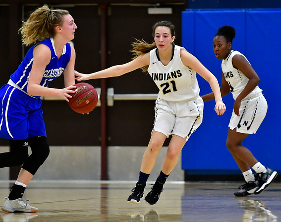 3/1/2019 Mike Orazzi | Staff Newington High School's OAbygale Flores (21) during the Class LL Second Round of the CIAC 2019 State Girls Basketball Tournament at Newington High School Friday night.