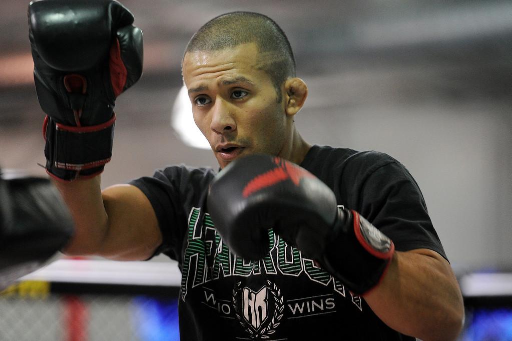 . UFC fighter Ivan Menjivar during an open workout at the UFC Gym in Torrance, CA Wednesday, February 20, 2013. (Hans Gutknecht/Staff Photographer)