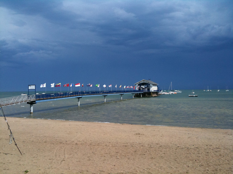 Off the water after the postponement with storms in the background.