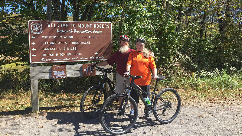 John and Sandra at Whitetop Station Virginia Creeper Trail