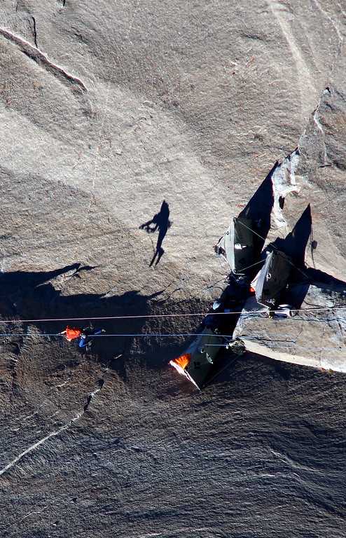 . In this Jan. 7, 2015 photo provided by Tom Evans, Tommy Caldwell ascends from the base camp to climb what is known as pitch 17 during what has been called the hardest rock climb in the world: a free climb of El Capitan, the largest monolith of granite in the world, a half-mile section of exposed granite in California\'s Yosemite National Park. El Capitan rises more than 3,000 feet above the Yosemite Valley floor. The first climber reached its summit in 1958, and there are roughly 100 routes up to the top. (AP Photo/Tom Evans, elcapreport)