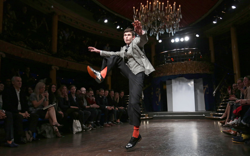 . A model on the catwalk during the Nutters Of Savile Row X Peter Werth show at the London Collections: MEN AW13at Cafe De Paris on January 9, 2013 in London, England.  (Photo by Tim Whitby/Getty Images)