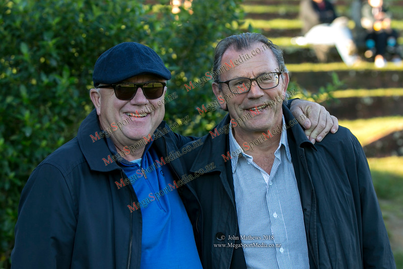 Staunch OBU supporters Tony Southall and Roger Drummond at the Wellington Premier  rugby union match (Swindale Shield) between Old Boys University RFC (white) and Petone (blue) at Nairnville Park, Wellington, New Zealand on 2 June 2018. SCORE: Petone 5, OBU 19 Copyright John Mathews 2018 www.megasportmedia.co.nz