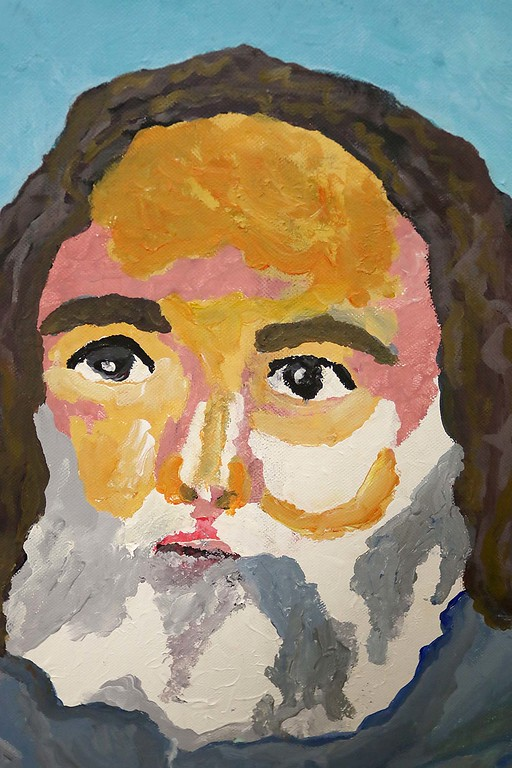 . Artist Kevin McCarthy, 62, of Fitchburg had an art show of some of his work this week at the Fitchburg Senior Center. This is one of his pieces in the show that is a portrait of one of his friends. SENTINEL & ENTERPRISE/JOHN LOVE