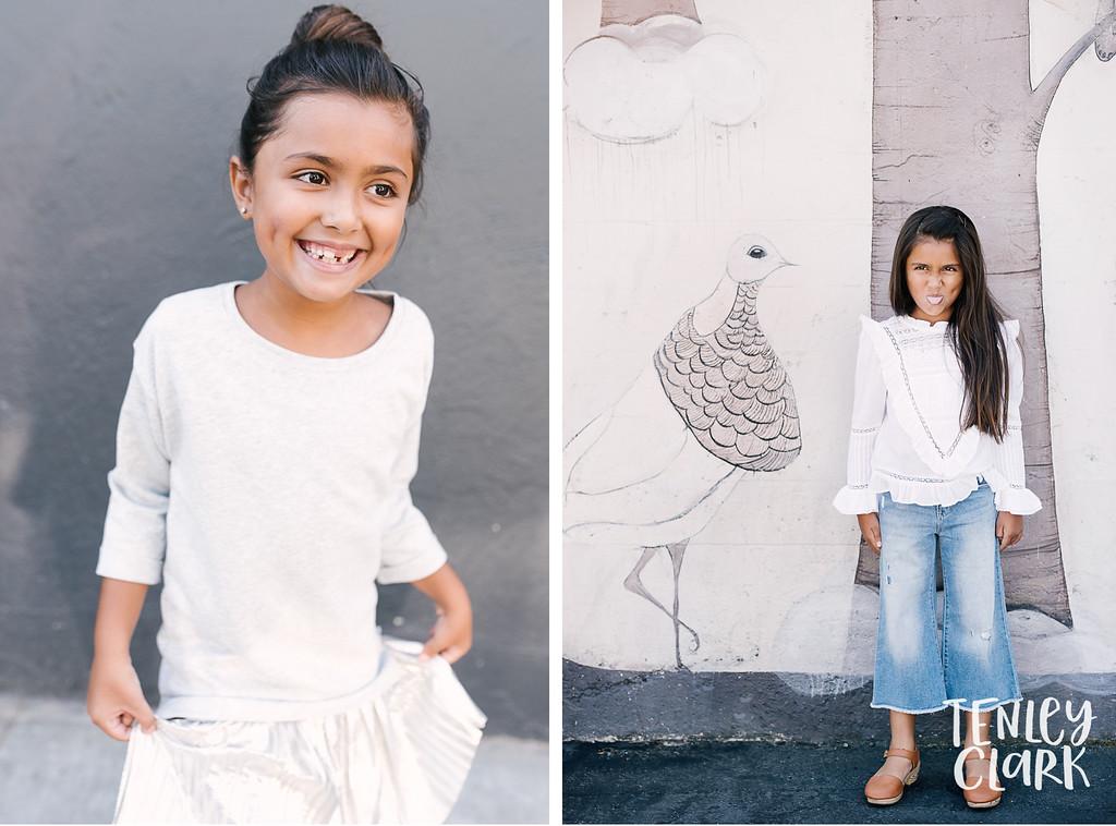 Downtown San Jose, CA kids model headshots for JE Model by Tenley Clark Photography.