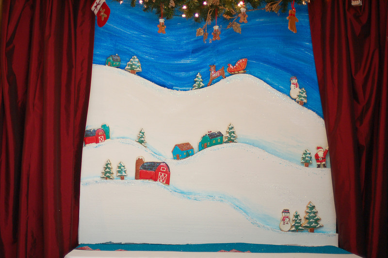 No dessert table again this year--but the backdrop *was* the dessert display!  All the houses, trees, etc., are cookies!