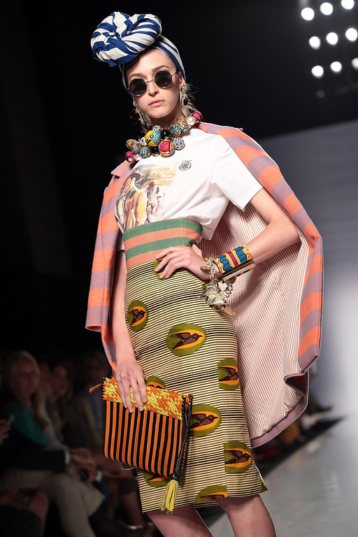 . A model displays a creation by Stella Jean during It\'s Ethical Fashion \'Bring Africa to Rome\' catwalk collection S/S 2014 fashion show as part of AltaRoma AltaModa Fashion Week at Santo Spirito In Sassia on July 7, 2013 in Rome, Italy.  (Photo by Elisabetta Villa/Getty Images)