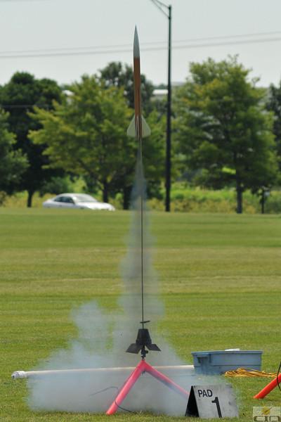 Liftoff of Adam Joseph's Airspike on a RoadRunner F45-8 motor.  Photo by Alan M. Carroll
