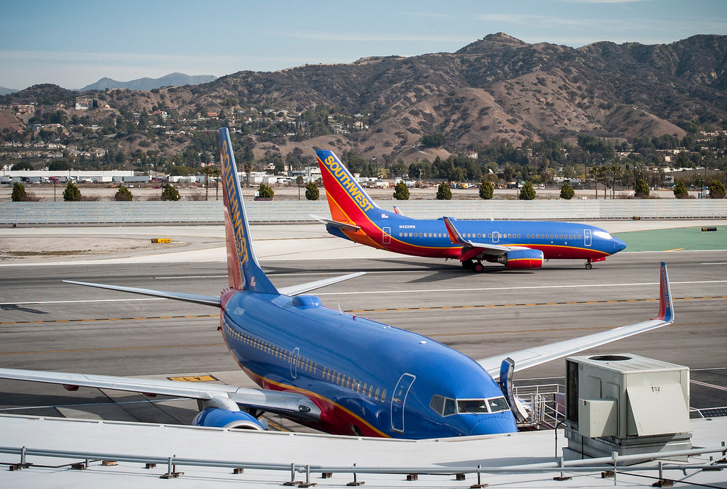 . Southwest jets arrive at the Bob Hope airport in Burbank, CA Tuesday, March 11, 2014.  The area north of this runway is being considered as a site for a possible expansion of the airport.  (Photo by David Crane/Los Angeles Daily News)